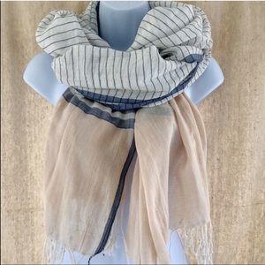 BDG Blue tan white striped summer Fringe scarf